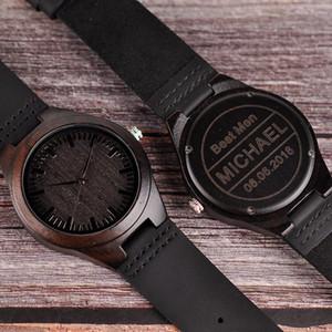relogio masculino Engraved Wood Watches Groomsmen Personalized Watch Father's Anniversary Gift for Men erkek kol saati