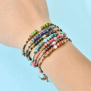 ZZZY 7PCS / комплект Оптом смешанные BOHO тонкий браслет Miyuki ручной работы натуральные каменные бусины браслет женские прядь руки аксессуары Y1119