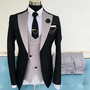 2020 Latest design grey pink with black wedding suits for men slim fit groom man party suit tuxedo 3 piece mens Blazer Jacket