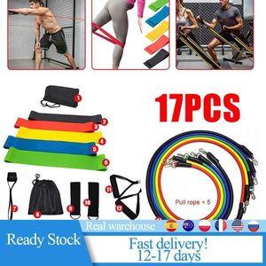 17Pcs Multi-Function Belt Elastique Sport Yoga Pull Rope Resistance Bands Fitness Training Belt Elastic Exercise Crossfit New1