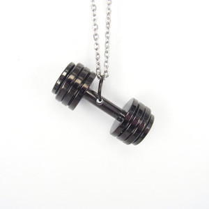 Barbell Dumbbell Necklace Stainless Steel Kettlebell Women Fitness Strength Weightlifting Sports Jewelry Men Bisuteria Mujer