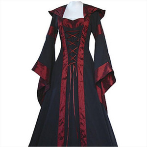 2018 New Retro Dress Vintage Long Sleeve Cotton Medieval Dresses Renaissance Victorian D1 Drop Shipping Good Quality