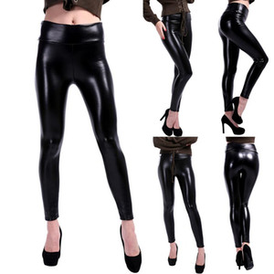 Lady Autumn Winter Thick Warm Leggings Fitness Faux Leather Leggings High Waist Slim PU Pants Velvet Pencil Trousers
