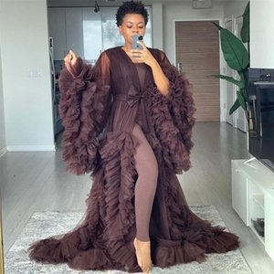 Luxury Chocolate Maternity Gown Long Sleeves Ruffles Wedding Sleepwear Bathrobes Nightgowns Robes Women Dress Kimono Tiers