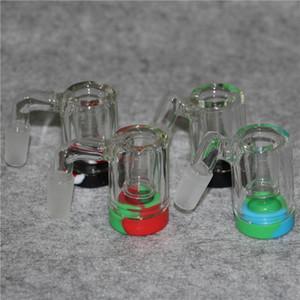 Casseroles de frêne en verre fumant Bong 14mm cendres de cendres de cendres 450 degrés AshCatcher Tuyaux d'eau en silicone Casier