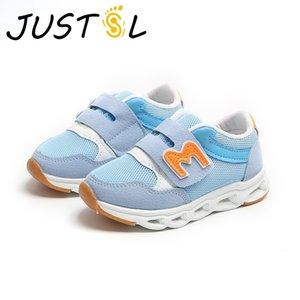 JUSTSL new children's LED boys girls casual light shine kids breathable mesh sport shoes Y1118