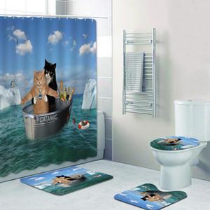 3D drôle catanique chat chien douche rideaux rideaux de salle de bains rideaux de voile voile skin rideau de bain rideau tapis de tapis de chaton animal d'amour décor 201128