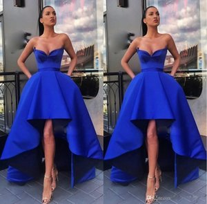 Royal Blue High Low A Line Sleeveless Long Prom Dresses Unique Design Sweetheart Sexy Celebrity Evening Gowns robes de soiree P159