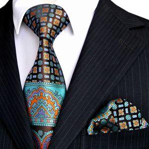 E10 Men's Ties Hanky Multicolor Black Blue Turquoise Floral Neckties Set 100% Silk Wholesale Free Shipping