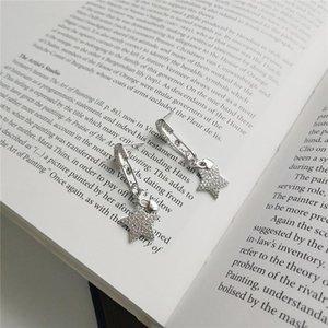 Ruiyi Real 925 Sterling Silver Originality Pin Design Stud Pendientes Pendientes Personalizada Zircon Pendientes de encanto estrella de cinco puntas