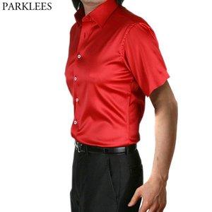 Mens Slim Fit Short Sleeve Silk Shirt 2020 Satin Smooth Men Red Tuxedo Shirt Wedding Business Male Casual Social Chemise
