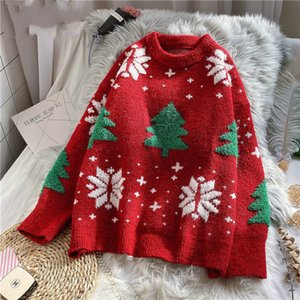 Red Christmas Snowflake Pullover Sweater Women Winter New Thicken Casual Soft Loose Round Neck Long Sleeves Knitted Top