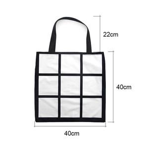 Sublimation Grid handbag Tote Bag Blank White DIY Heat Transfer Shopping Bag 9 Panels Cloth Reusable Storage Gift Bag Handbag 8811