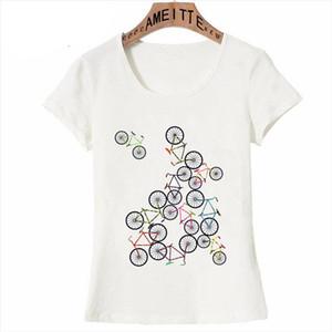 Summer Fashion Women Short Sleeve Colorful Bicycles Slim Fit T Shirt Funny Harajuku Bikes Lovers Casual Tops Cute Girl Tees