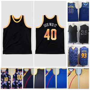 Vintage cosido Jersey Mens 10 Hada Showay 93 40 x Sick Wid Costited Mesh Basketball Jerseys
