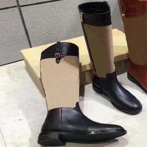 Mode über der Kniefarbe Passende Runde Kopf Damen Lange Stiefel Weibliche Martin Casual Wild Rutschfeste Leder Frauen Stiefel Cowboy SH02 BR1