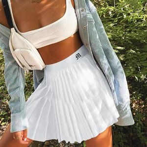 Women White Pleated Skirt Embroidery Casual Mini Short Tennis Skirt Summer 2020 School Girl Y2K Aesthetic Skater Skirts Female