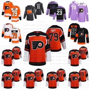 Carter Hart Philadelphia Flyers 2021 Reverse Retro Claude Giroux Kevin Hayes Sean Couturier Jakub Voracek Gostisbeher Uskar Lindblom Jersey