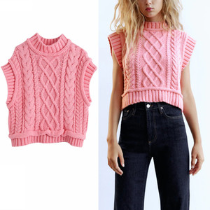 Za Knit Sweater Vest Women High Collar Sleeveless Cable Knitted Top Female Chic Casual Autumn Pink Pullover Y201128