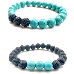 Natural Black Lava Stone Bead Turquoises Bracelet Black Volcanic Rocks Bracelets Stretch Energy Yoga Gift Bracelets Prom Jewelry