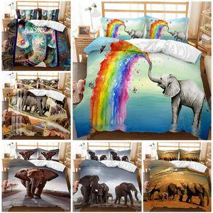 Elephant Muster gedruckt 3d Bettwäsche Tiere Home Decor Queen Size Bedspread Polyester Bettwäsche weiche Bettbezug Pillowcase
