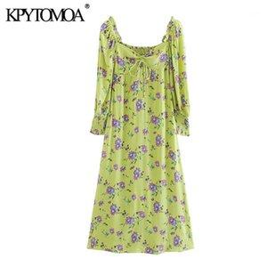 KPYTOMOA Женщины 2020 Шикарная мода Флористическая принция Боковая молния MIDI Платье Винтаж связал V шея Назад Эластичные Женские Платья Vestidos1
