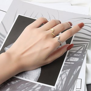 Silver Color Open Ring for Women Minimalist Irregular Wave Pattern Gold Color Jewelry Bijoux Birthday