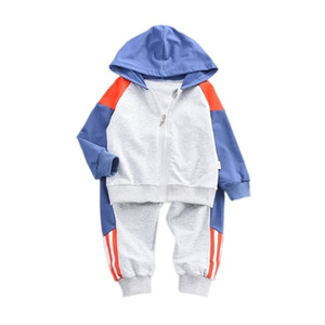 Spring Autumn Children Sports Clothes Baby Boy Girl Casual Hooded Jacket Pants 2Pcs set Toddler Cotton Clothing Kids Tracksuits 201031