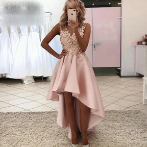 Pink High Low Short Prom Dresses 2021 Sheer Jewel Neck 3D Floral Appliques Cocktail Party Gowns Girls Graduation Homecoming Dress AL7843