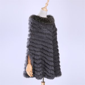 New Women's Luxury Pullover Knitted Genuine Rabbit Fur Raccoon Fur Poncho Cape Real Fur Knitting Wraps Shawl Triangle Coat 201214