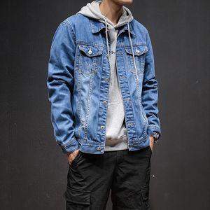 Men Autumn Winter Jacket Casual Button Solid Color Vintage Denim Jacket Tops Blouse Coat Parka Men jaqueta masculino