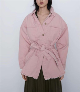 Obrix Cool Loose Spring Autumn Female Shirt Square Collar Full Sleeve Belt Pockets Casual Style Blouse For Women