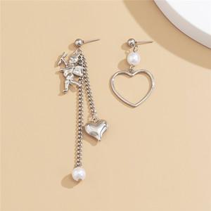 10pairs Lot European Asymmetric Angel Stud Earrings Alloy Hollow Heart Tassel Chain Ear Drop With Pearl Women Valentine's Day Dangle Earring
