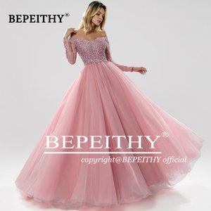 Bepeithy с длинными рукавами шариковины вечерние платья милая робичка de soiree зеленое вечернее платье вечеринка 2020 abendkleider lj201224