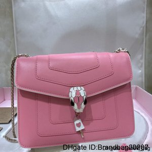 High Women's One-shoulder 7a High-end Custom Quality Diagonal Cross Bag Fashion Style Gold Metal Accessories Pink