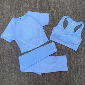 Diseñador de moda para mujer algodón yoga traje gymshark sportwear chándalsuits fitness deporte tres piezas conjunto 3 pantalones sujetador camisetas trajes leggings