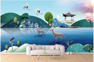 3d wallpaper custom photo new Chinese scenery of the elk decoration painting room wallpaper for walls 3d wall murals