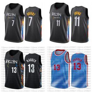 Homens Brooklyncity Team 13 Harden Jersey Kevin 7 Durant 11 Irving 2020-21 Cidade Pride Night Black Beatball Jersey