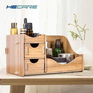 HECARE caixa de armazenamento de madeira para cosméticos eco-friendly placa de madeira maquiagem organizador pequeno escritório escritório desktop organizador new1