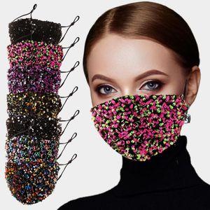 Yüz Maskesi Moda Salon Blingbling Madeni Pul Pullu Tasarımcı Lüks Maske Kullanımlık Yetişkin Mascarillas Koruyucu Ayarlanabilir Halat FWB3376