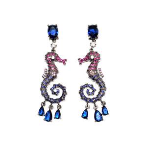 Fashion Hippocampus Earrings Women Luxury Wedding Party Jewelry Pave Cubic Zirconia Animal Tassel Earring Water Drop Dangler