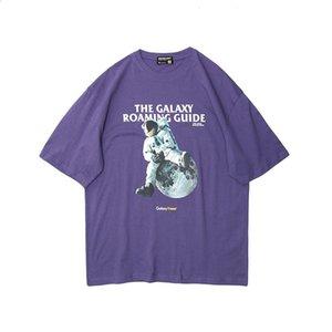 Vertical line men's cartoon astronaut T-shirt men's summer 2020 New loose ins fashion brand T-shirt