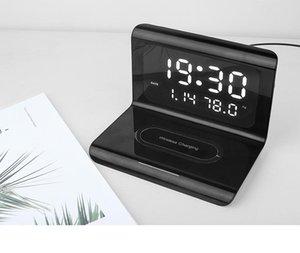 Tampon de chargeur sans fil avec rétroviseur d'alarme numérique Horloge Température 10W Chargement rapide pour iPhone 11 12 Samsung S10 Note 10 Sortie de factortis