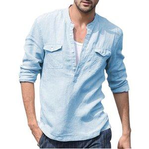 Camisetas de lino de algodón para hombre primavera otoño sólido manga larga retro color puro camisa superior top tops tops