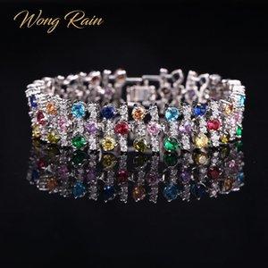 Wong Rain Luxury 925 Sterling Silver creó Moisaanite Amethyst Gemstone Bangle Bangle Charm Body Bracelet Joyería fina al por mayor Q1201