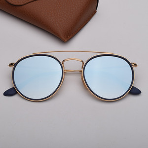 Round sunglasses woman fashion sunglasses des lunettes de soleil mens ray sun glasses with top leather and sticker