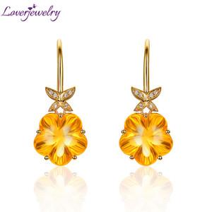 Loverjewelry queda brincos citrine senhora sólida 14k amarelo ouro flor natural forma amarela citrine balança brincos para mulheres presente B1205