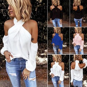 GAOKE Blouse Shirt Women Bodycon Blouse Elegant Summer Sexy Shirt 2020 Female Blusas Tops Tees Off Shoulder White Full Casual