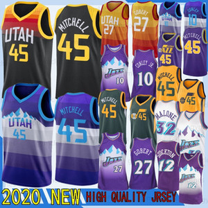 Donovan 45 Mitchell Jersey peppt NEW Mike Conley 10 Rudy 27 Gobert Ricky Rubio 3 NCAA Men Utahs Retro-Trikots