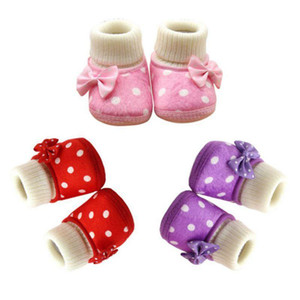 DHL 100pair Soft & Warm Baby Shoes Newborn Baby Girl Bowknot Fleece Snow Boots Booties White Princess Shoes